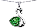 Original Star K(TM) Large Love Swan Pendant With 8mm Simulated Emerald.