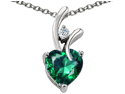 Original Star K 1.95 cttw Heart Shaped 8mm Simulated Emerald Pendant