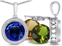 Switch-It Gems 2-in-1 0.32 ct.tw. Round Created Sapphire Pendant w/ 12 Changeable Created Birthstones