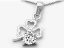 Celtic Love by Kelly Round White Topaz Lucky Clover Pendant