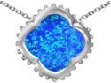 Original Star K(TM) Large Clover Pendant with 12mm Clover Cut Created Blue Opal