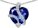 Original Star K(TM) Large 15mm Heart Shape Simulated Blue Sapphire Love Pendant