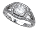 Zoe R(TM) 925 Sterling Silver Micro Pave Hand Set Cubic Zirconia (CZ) Cushion Cut Engagement Ring