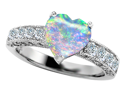 Original Star K(TM) Heart Shape 8mm Simulated Opal Engagement Ring