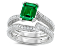Original Star K(TM) Emerald Cut 8x6mm Simulated Emerald Engagement Wedding Set