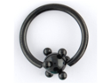 "One PVD Stainless Steel Captive Bead Ring: 16g 3/8"" Black, PVD Spaceball 4mm (SOLD INDIVIDUALLY. ORDER TWO FOR A PAIR.)"