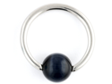 """One Stainless Steel Captive Bead Ring: 16g 5/16"""", Cat's Eye Bead: 4mm Black (SOLD INDIVIDUALLY. ORDER TWO FOR A PAIR.)"""