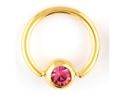 "One PVD Stainless Steel Captive Bead Ring: 14g 3/8"" Gold, Gem Bead: 5mm, Pink Gem (SOLD INDIVIDUALLY. ORDER TWO FOR A PAIR.)"