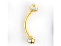 "One PVD Stainless Steel Curved Barbell: 14g, 5/16"" long, Gold, 5-Stone CZ Balls: 4mm"