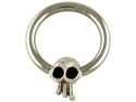 "One Steel Captive Bead Ring with Horizontal Large (12mm) Skullduggery Skull: 10g 5/8"" (SOLD INDIVIDUALLY. ORDER TWO FOR A PAIR.)"