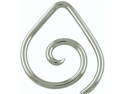 One Stainless Steel Teardrop Spiral: 6g Large (SOLD INDIVIDUALLY. ORDER TWO FOR A PAIR.)