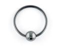"""One Black Niobium Captive Bead Ring: 18g 7/16"""", Hematite Bead: 4mm (SOLD INDIVIDUALLY. ORDER TWO FOR A PAIR.)"""