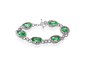 31 CTS Green Topaz Bracelet with Rhodium Plating