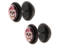 Pair of Pink Sugar Skull Fake Cheater Plug Acrylic Earring - 22G