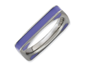 Size 7 - Purple Hearts Enamel Square Band Sterling Silver Stackable Ring