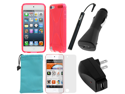 GTMax 6 Items Essential Accessories Bundle kit for Apple iPod Touch 5, New iPod Touch 5G, iTouch 5G, 5th Generation (2012 Version)--Solid Hot Pink TPU X Shape Case Cover included