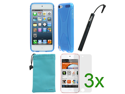 GTMax Solid Blue TPU X Shape Case Cover plus Stylus, 3pcs Screen Protector for Apple iPod Touch 5, New iPod Touch 5G, iTouch 5G, 5th Generation MP3 Player (2012 Version) with *Pouch Case*
