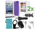 GTMax 10 Items Essential Accessories Bundle kit for Apple iPod Touch 5, New iPod Touch 5G, iTouch 5G, 5th Generation (2012 Version)--Solid Purple TPU X Shape Case Cover included