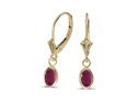 14K Yellow Gold Oval Ruby Bezel Lever-back Earrings  (1.20ct tgw)