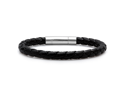 Oxford Ivy GSSB171-SL Braided Black Leather Mens Bracelet 6 mm 8 1/2 inches with Locking Stainless Steel Clasp