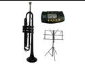 MERANOB Flat Black Trumpet with Case,MouthPiece,Oil,Golves+Free Music Stand,Metro Tuner