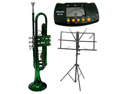 MERANO B Flat Green Trumpet with Case,MouthPiece,Oil,Golves+Free Music Stand,Metro Tuner