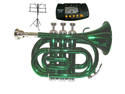 MERANO B Flat Green Pocket Trumpet with Case,MouthPiece,Oil,Golves+Free Music Stand,Metro Tuner