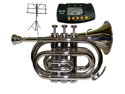 MERANO B Flat Silver Pocket Trumpet with Case,MouthPiece,Oil,Golves+Free Music Stand,Metro Tuner