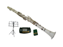 Merano B Flat WHITE Clarinet with Carrying Case+Metro Tuner+Music Stand+11 Reeds