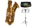 Merano E Flat Gold Alto Saxophone with Case+Metro Tuner+Music Stand+11 Reeds
