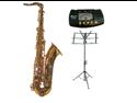 Merano B Flat Gold Tenor Saxophone with Case+Metro Tuner+Music Stand+11 Reeds