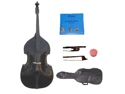 Merano 4/4 Size Black Student Double Bass with Carrying Soft Bag, Bow + 2 Sets Strings+Rosin