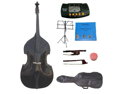 Merano 4/4 Size Black Student Double Bass with Carrying Soft Bag, Bow + 2 Sets Strings+Music Stand+Metro Tuner+Rosin