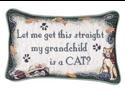 "Set of 2 Cat Grandchild Decorative Throw Pillows 9"" x 12"""