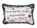 "Set of 2 Dog Grandchild Decorative Throw Pillows 9"" x 12"""