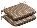 Pack of 2 Outdoor Patio Furniture Chair Seat Cushions - Mocha Stripe Sunbrella