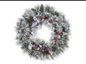 "36"" Flocked American Pine Artificial Christmas Wreath w/ Berries & Cones - Unlit"