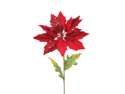 Club Pack of 12 Christmas Traditions Artificial Red Glitter Poinsettia Stems 29""