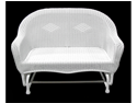 "51"" White Resin Wicker Double Glider Patio Chair"