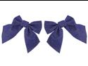 """Pack of 3 Dark Blue and Gold Glitter Velveteen Christmas Ornament Gift Bows 7"""""""