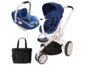 Quinny CV078BXQ Moodd Prezi White Travel system with Diaper bag and car seat - Blue Defiance