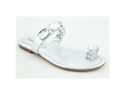 David Tate Gem Womens Size 7.5 Silver Nappa Leather Thongs Sandals Shoes