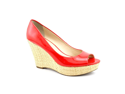 Franco Sarto Surf Womens Size 7.5 Red Peep Toe Wedges Heels Shoes