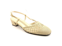 David Tate Puff Womens Size 7 Gold Narrow Patent Leather Slingbacks Shoes