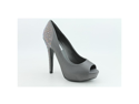 Steve Madden Playy-R Womens Size 10 Gray Peep Toe Textile Platforms Heels Shoes