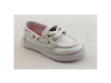 Sperry Top Sider Bahama Toddler Girls Size 6 White Moc Fabric Boat Shoes UK 5.5