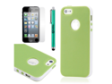 Green & White Slim Hybrid PC Rugged TPU Back Case Cover Frame Cover for iPhone 5 + Stylus Pen and Screen Protector