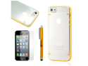 Hard PC Clear Back Cover Yellow TPU Frame Hybrid Case w/ Stylus Screen Guard for iPhone 5