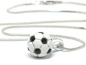 Miniature Soccer Black White Pendant Necklace