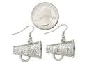 Silvertone Clear Crystal Cheerleading Dangle Earrings